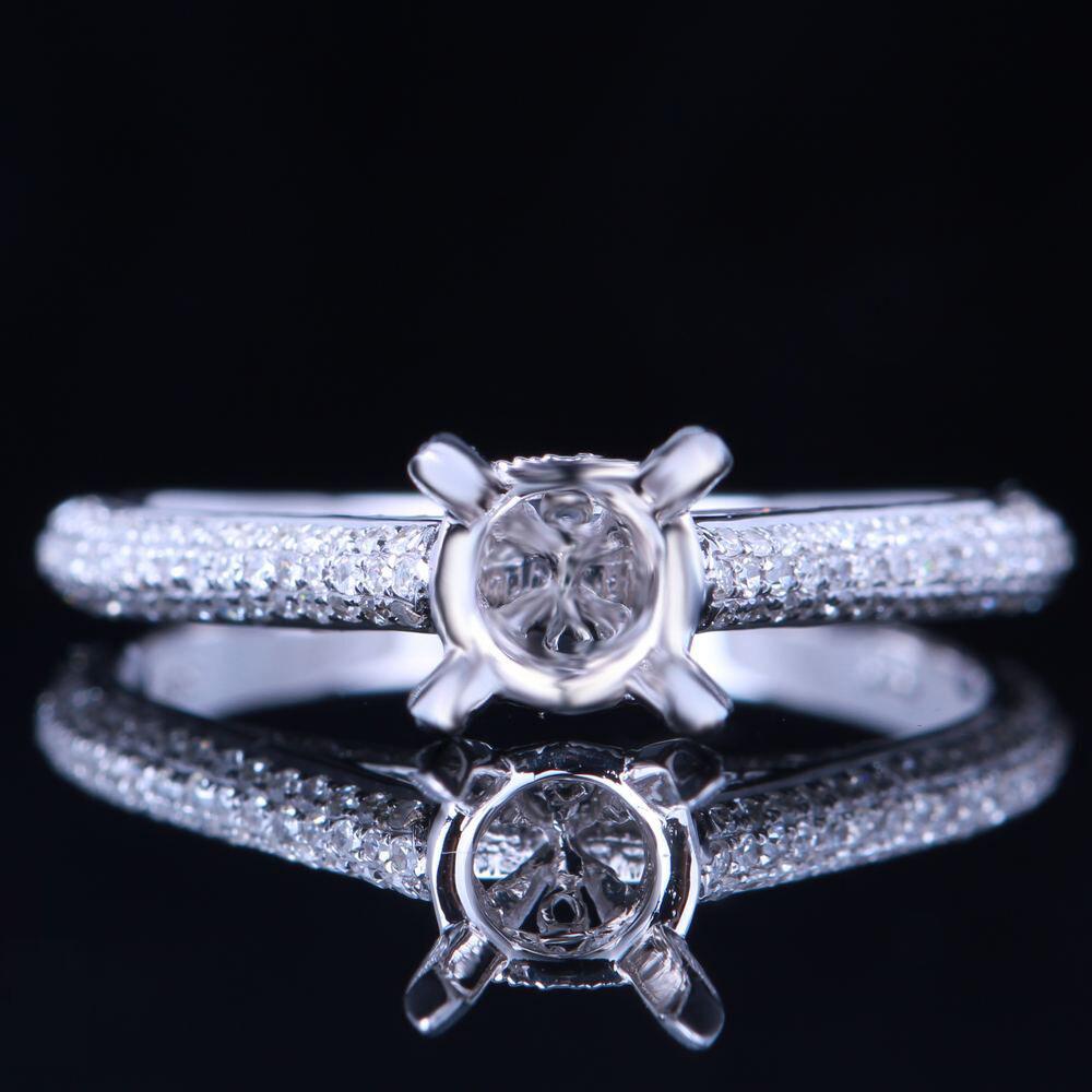 6-7mm 7.5-8.5mm 8-9mm 10-11mm Round Cut Semi Mount 10K White gold Diamonds Ring