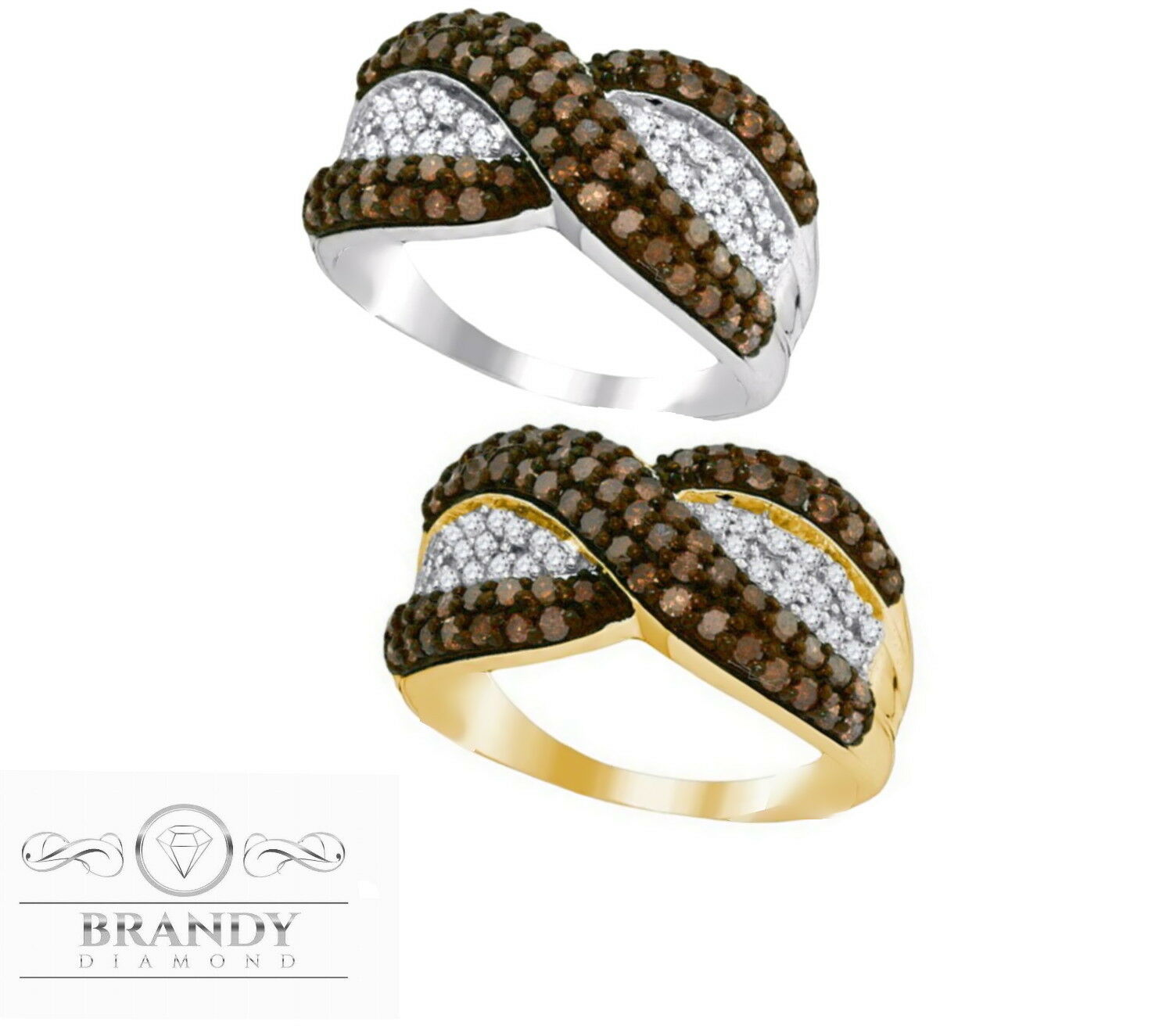 Brandy Diamond® Chocolate Brown 10K gold Double Delight Ring 1.00 Ct