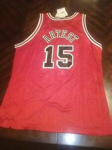 3dd63697b2ad NWT Ron Artest Chicago Bulls signed Champion jersey LE Fleer Metta ...