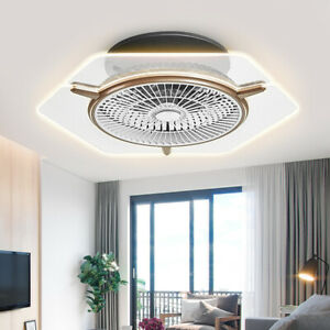 Ceiling-Fan-Dimmable-LED-Remote-Control-Invisible-Fan-w-Transparent-Light-Lamps