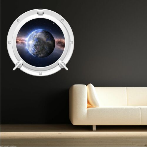 FULL COLOUR EARTH SPACE PORTHOLE WALL STICKER KIDS BEDROOM BATHROOM DECAL WSD70