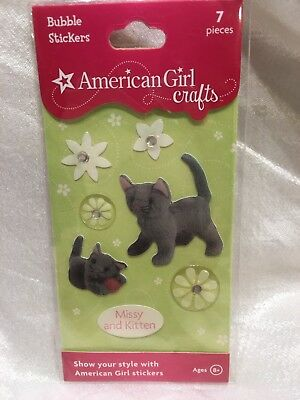 American Girl Doll Crafts Missy Cat and Kitten Bubble Stickers 7 Pieces