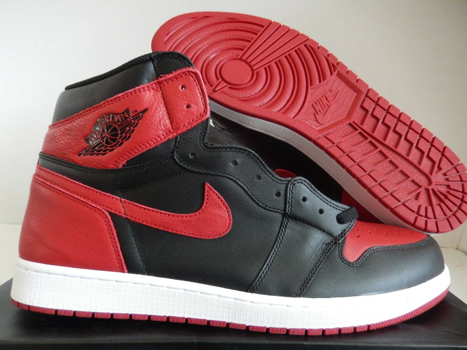 NIKE AIR JORDAN 1 RETRO HIGH OG BRED BANNED BLACK-RED-WHT SZ 17 [555088-001]