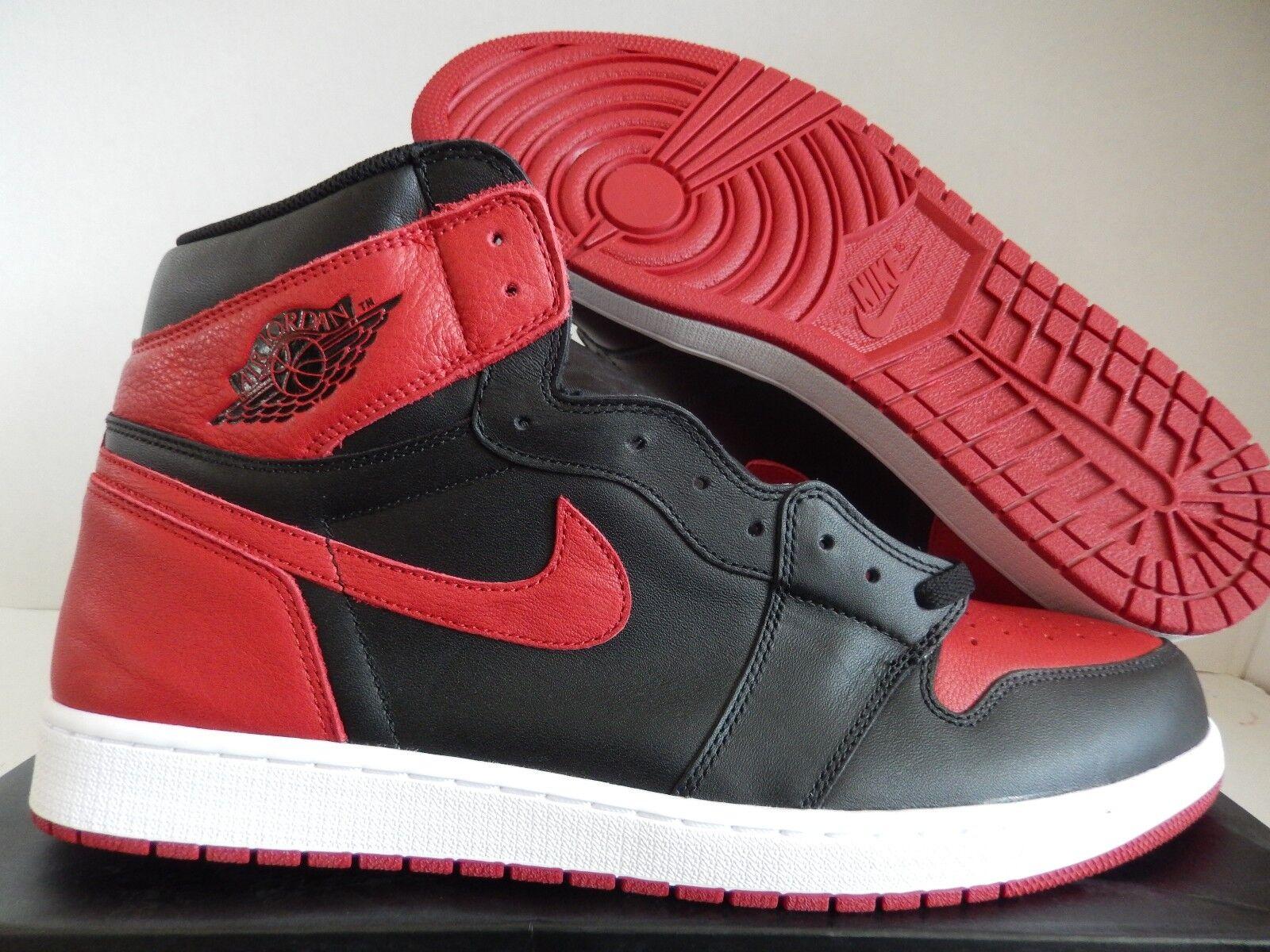 Nike air jordan 1 'alto og allevati vietato nero-red-wht sz 18 [555088-001]