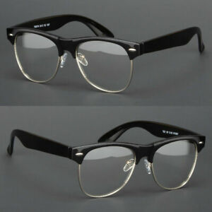 New-Clear-Lens-Glasses-Mens-Women-Nerd-Horn-Frame-Fashion-Eyewear-Designer-Retro