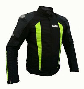 Giacca-Sport-Touring-Tessuto-Moto-Cordura-CE-Protezioni-Sfoderabile-Nero-Flu