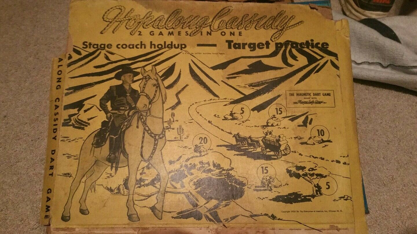 Hopalong Cassidy 1950 Steel Sign Target Practice Magnetic Dart Game  with box