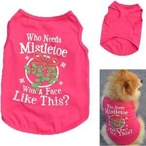 Navidad Muerdago Perro Mascota Ropa Traje Verano Gato Cachorro Camiseta Disfraz