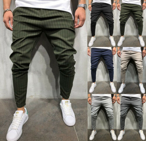Men/'s Twill Hip Hop Urban Straight Leg Trousers Casual Pencil Jogger Cargo Pants