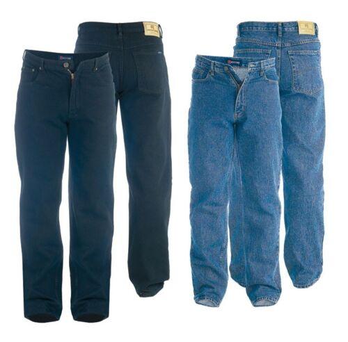 Mens King//Big Duke Elasticated Waist Stretch Denim Jeans Black Blue Size 42 60