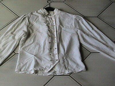 Beige Vintage Bluse Gr. 36 / S Trachtenbluse 70er 80er Jahre Mit Knöpfen