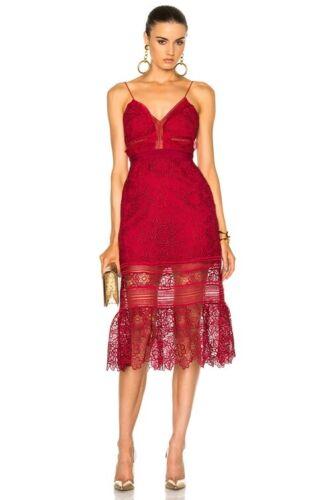 Self Portrait Red Lace Midi Dress size 4 - image 1