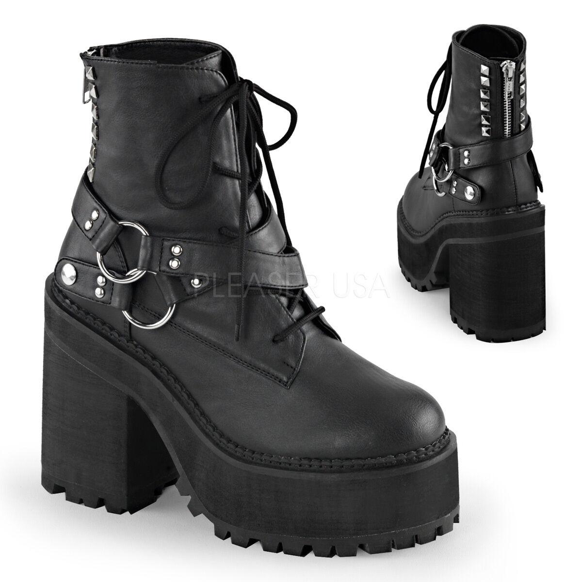 Demonia Assault-101 Ladies Block Heel Ankle Boots