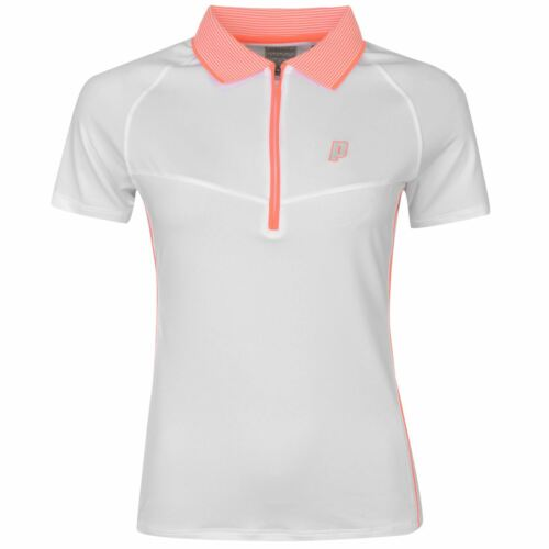 Prince Womens Half Zip Tech Tennis Polo Shirt Short Sleeve Sport Breathable Top
