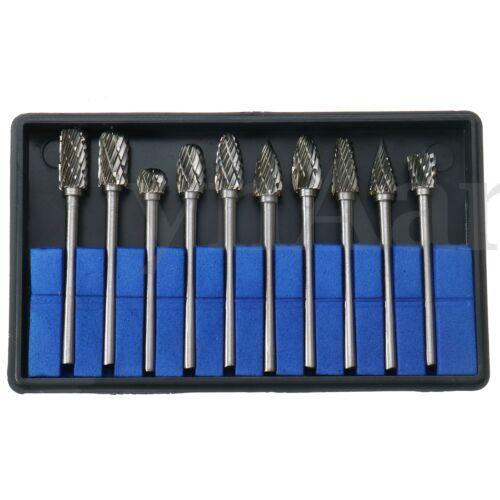10Pcs 1//8/'/' Shank Tungsten Carbide Metal Rotary Drill Bits Tool Cutter Files Set