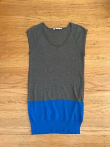 91aa0eda44c1d5 Image is loading T-Alexander-Wang-taupe-blue-colorblock-Tunic-shortsleeve-
