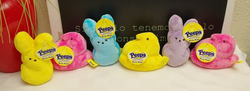 Peeps Lot of 6 Bean Bag Plush Dolls Bunny's & Birds
