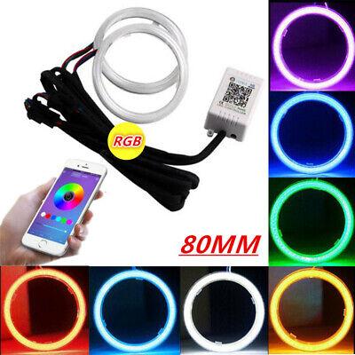2x 60-110MM White Amber COB LED Angel Eyes Halo Light Headlight Fog Lamp Kit
