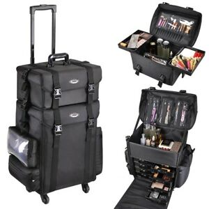 Details About Pro 2in1 Soft Sided Rolling Makeup Trolley Train Case Bag W Drawer Artist Black