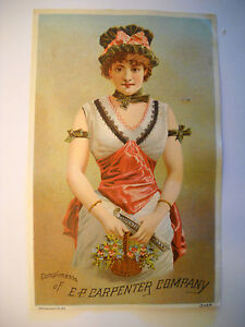 CARPENTER-ORGAN-Victorian-trade-card-CHROMOLITHO-fancy-dressed-BRATTLEBORO-VT