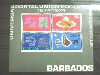 Streng Barbados 1 Block ** Aus 1974 100 Jahre Upu