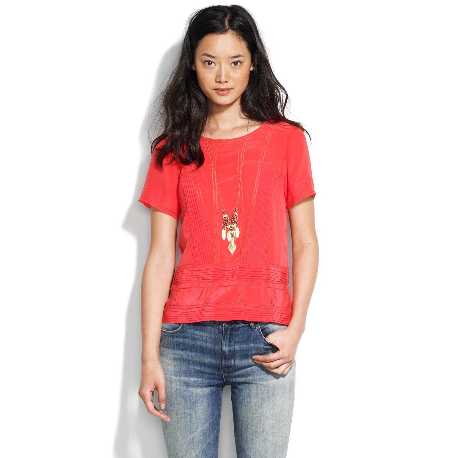 RARE  NWT  Madewell J.Crew silk trelliswork top XS vivid poppy rot blouse