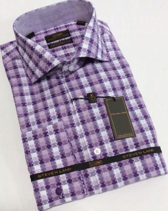 Dress Shirt by Steven Land Spread Collar French Cuffs 16.5 34 35 DM 1571 Purple