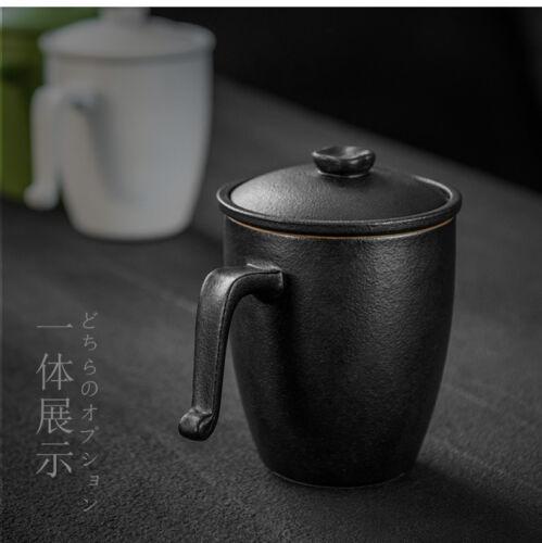 Black Rotation Glazed Ceramic Mug avec couvercle et infuseur de thé 270ml 9oz