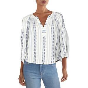 VELVET BY GRAHAM & SPENCER Womens Brandi V-Neck Peasant Top Shirt BHFO 0763