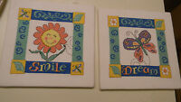 Completed Baby Collection Two 7 x 7 Cross Stitch SMILE & DREAM Nursery JCA - New