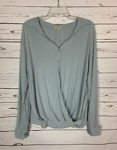 Kori-America-Boutique-Women-039-s-S-Small-Gray-Long-Sleeve-Button-Top-Shirt-Blouse