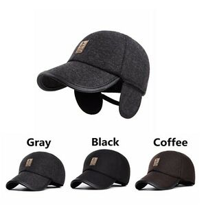Men s Winter Hat with Ear Flaps Warm Cotton Mens Winter Baseball Cap ... 46cf9b64536