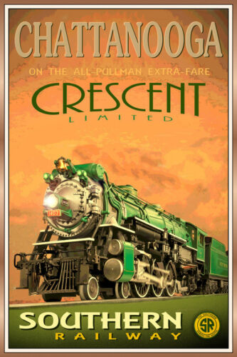 Chattanooga CRESCENT LIMITED Poster Southern Retro Railroad Train Art Print 158