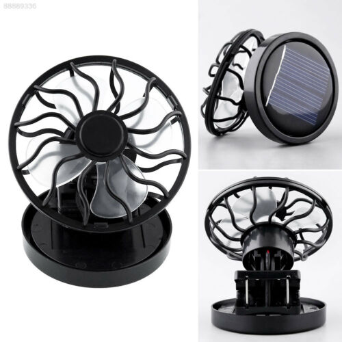 EF77 Black Solar Power Cell Fan Clip-on Stand Sun Cooling Cooler Activities
