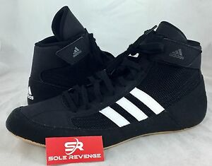 New ADIDAS HVC 2 Wrestling Shoes MMA Boxing Black White Gum pretereo AQ3325