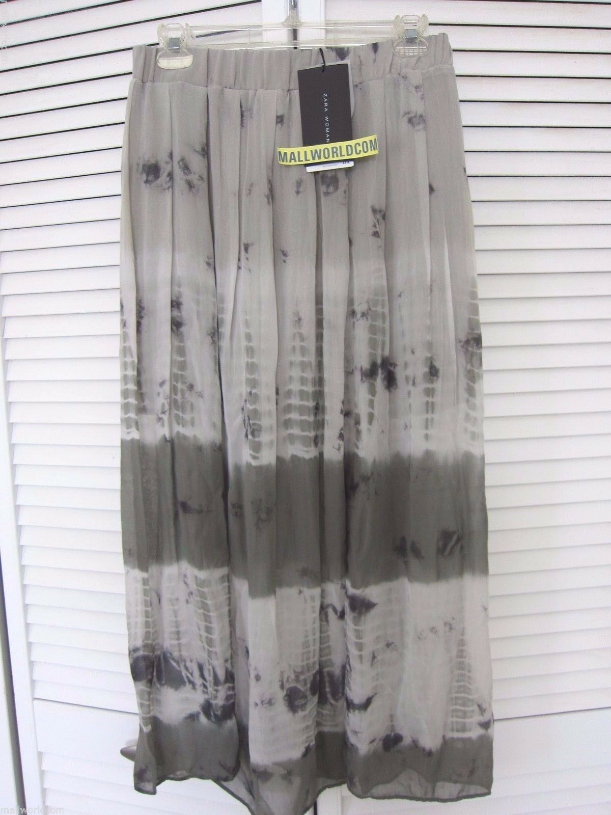 NEW ZARA WOMAN TIE-DYE SKIRT MIDI SLITS FLOWING SZ S GREEN REF.7521 073 BLOGGER