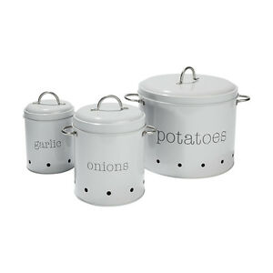 3x Pantry Canister Tin Garlic Onions Potatoes Container Storage