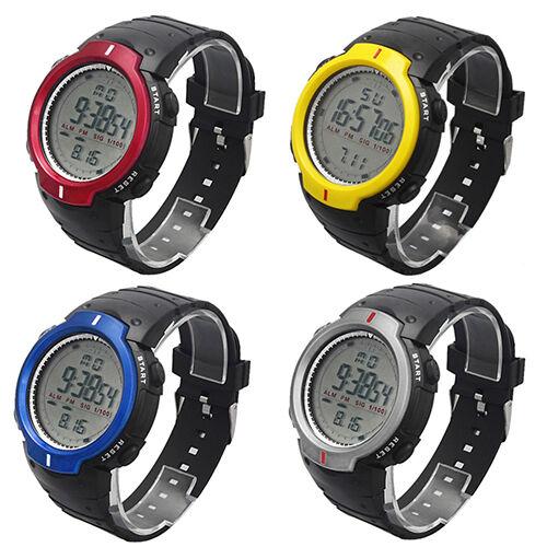 Men's Women's Waterproof Useful Digital Stopwatch Date Rubber Sport Wrist Watch