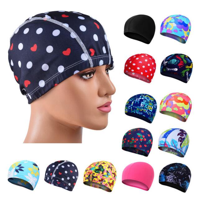 Unisex Stretch Flexible Sporty Swimming Long Hair Cap Hat Ear Cup Waterproof ^F