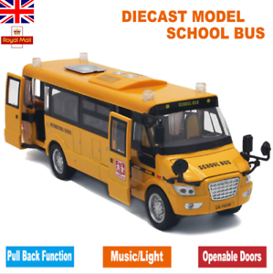 Sound Light Metal School Bus Model Open Doors Pull Back Car Toys Kids Xmas Gift