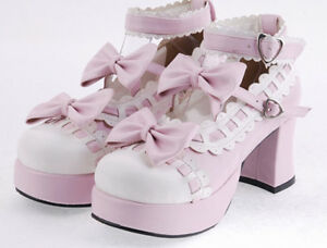 Womens-Pumps-Thick-Heel-Vintage-Sweet-Mary-Janes-Bowknot-Lolita-Shoes-Plus-Size