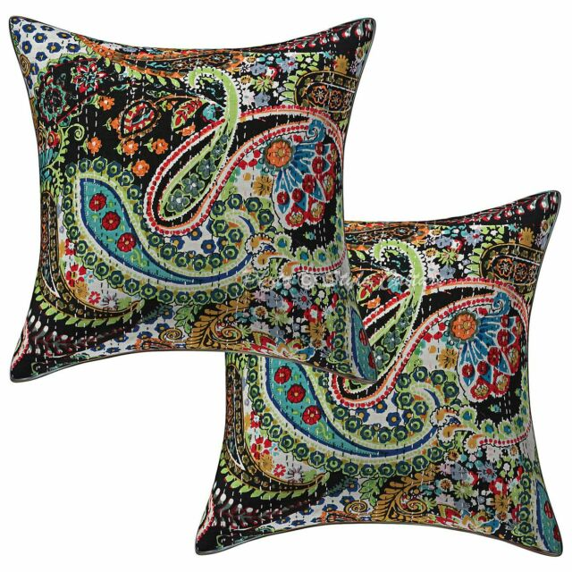 Decorative Kantha Pillow Case Cover Indian Handmade Cushion Cover Set OF 2pcs