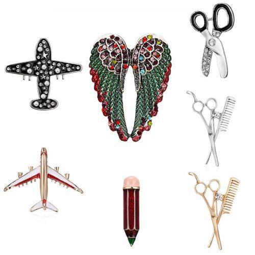 Fashion Rhinestone Cartoon Scissors Ariplane Brooch Pin Corasge Men Jewelry Gift