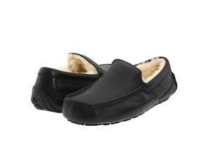 UGG-Australia-Men-039-s-Ascot-Moccasin-Slippers-5379B-Black-Leather-Sz-7-9-NEW