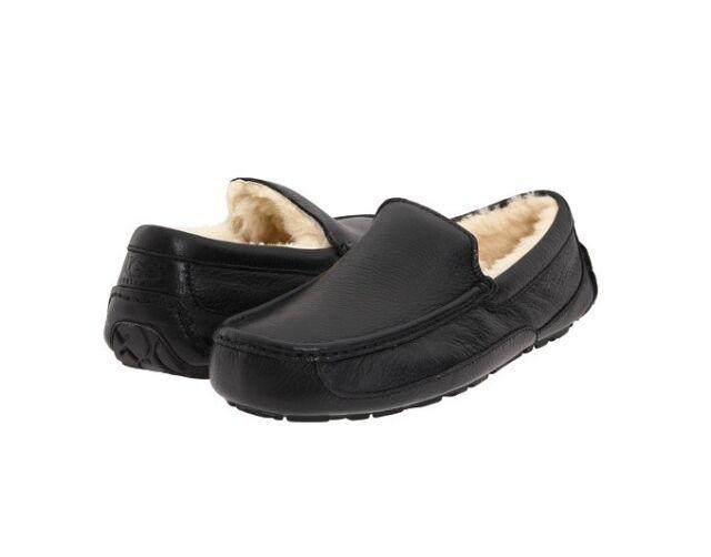 ff1d13c97e6 Men UGG Australia Ascot Leather SLIPPER 5379b Black 100 Authentic 9