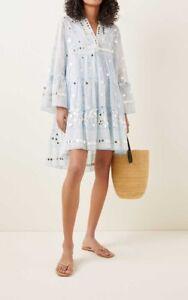 'Sold out' Juliet Dunn Pale Blue minidress AU12/14 (US8/10)- AUD$400 + Free Ship
