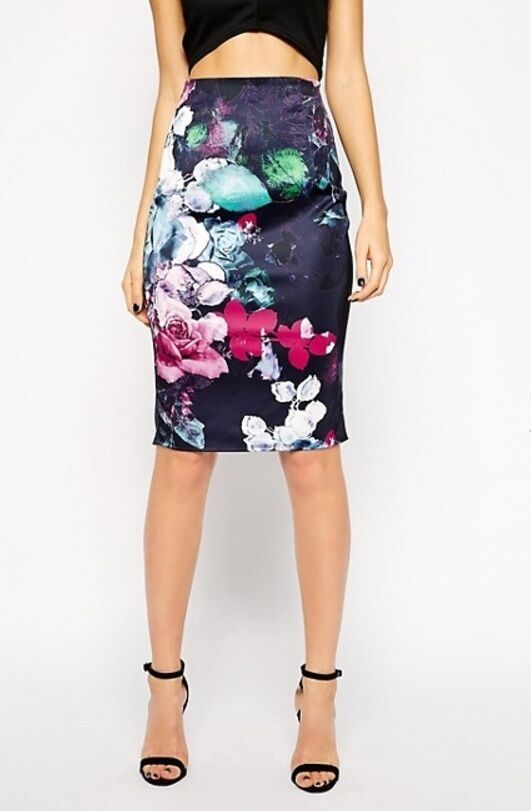 ASOS Lipsy Floral Print Bodycon Skirt -
