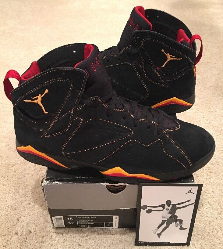 Nike Air Jordan Retro 7 VII Size 15 Black Suede Citrus orange Varsity Red 2006