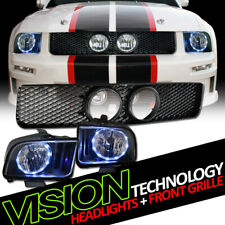 Black Led Halo Headlights Lamps Nbmesh Hood Grill Grille For 05 09 Mustang Gt Fits Mustang