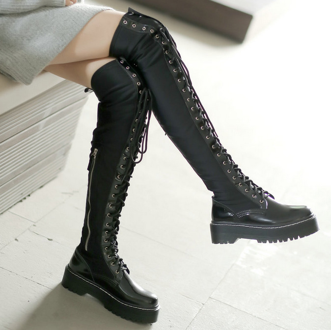 Womens Over Knee Lace Up Boots Black Punk Motorcycle Stretch Leather Flat Heels